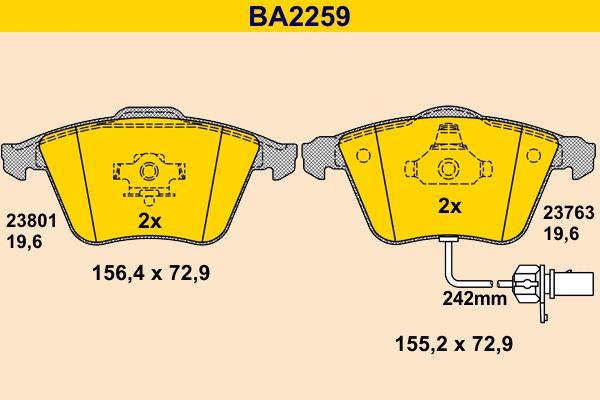 Barum  BA2259 Bremsbelagsatz, Scheibenbremse Breite 1: 72,9mm, Höhe 1: 155,2mm, Höhe 2: 156,4mm, Dicke/Stärke: 19,6mm