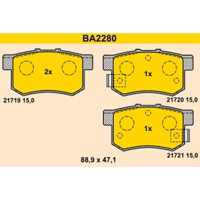 BARUM Remblokkenset, schijfrem BA2280 met OEM Nummer SFP000080
