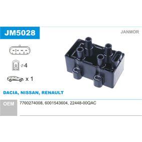Renault Twingo 2 1.2 Turbo (CN0C, CN0F) Zündspule JANMOR JM5028 (1.2 Turbo Benzin 2017 D4F 782)