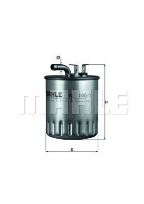 MAHLE ORIGINAL  KL 100/1 Kraftstofffilter Höhe: 127mm