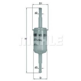 MAHLE ORIGINAL Kraftstofffilter KL 15 für AUDI 100 (44, 44Q, C3) 1.8 ab Baujahr 02.1986, 88 PS