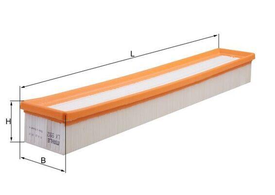 MAHLE ORIGINAL  LX 992 Luftfilter Breite: 85, 85,0mm, Höhe: 57mm, Länge über Alles: 520,0mm, Länge: 85,0mm