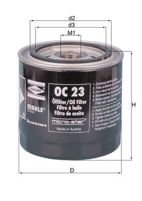 MAHLE ORIGINAL  OC 23 OF Ölfilter Ø: 93,2mm, Außendurchmesser 2: 72mm, Ø: 93,2mm, Innendurchmesser 2: 62mm, Innendurchmesser 2: 62mm, Höhe: 96mm