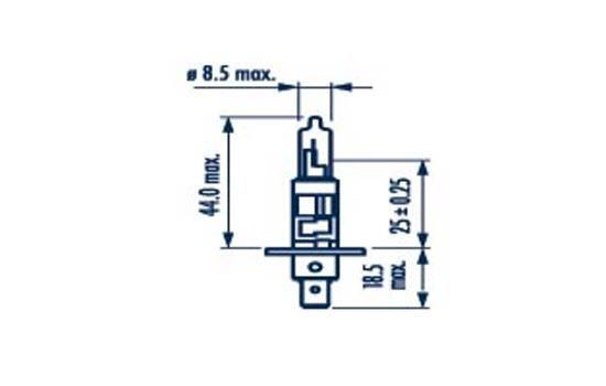 Bulb, spotlight 48702 NARVA H1 original quality