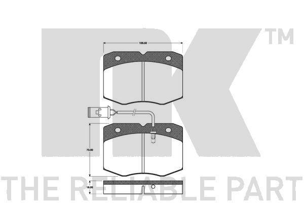 NK  222349 Bremsbelagsatz, Scheibenbremse Breite 1: 109,5mm, Höhe 1: 73mm, Dicke/Stärke 1: 18,2mm