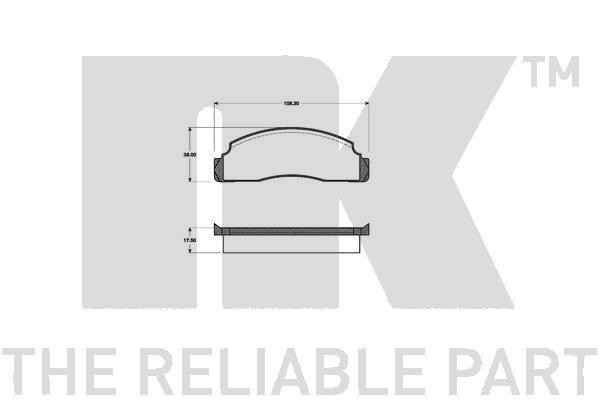 NK  222501 Bremsbelagsatz, Scheibenbremse Breite 1: 108,3mm, Höhe 1: 38mm, Dicke/Stärke 1: 17,5mm