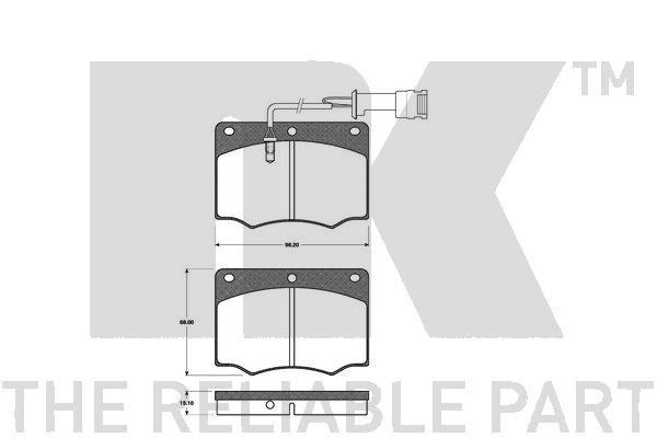 NK  222510 Bremsbelagsatz, Scheibenbremse Breite 1: 98,2mm, Höhe 1: 68mm, Dicke/Stärke 1: 15,1mm