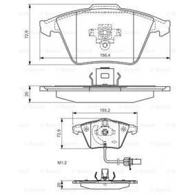 Bremsbelagsatz, Scheibenbremse Breite 1: 155,2mm, Breite 2: 156,4mm, Höhe: 72,9mm, Dicke/Stärke: 20mm mit OEM-Nummer 8E0 698 151C