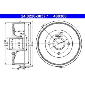 Renault Twingo 2 1.2 (CN0D) Bremstrommel ATE 24.0220-3037.1 (1.2 Benzin 2013 D7F 800)