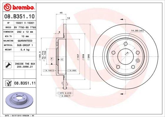 Artikelnummer 08.B351.11 BREMBO Preise