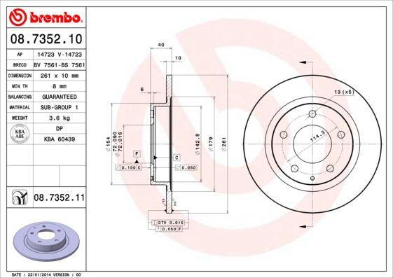 Bremsscheiben 08.7352.11 BREMBO 08.7352.11 in Original Qualität