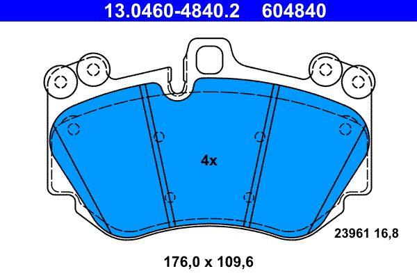 ATE  13.0460-4840.2 Bremsbelagsatz, Scheibenbremse Breite: 176,0mm, Höhe: 109,6mm, Dicke/Stärke: 16,8mm