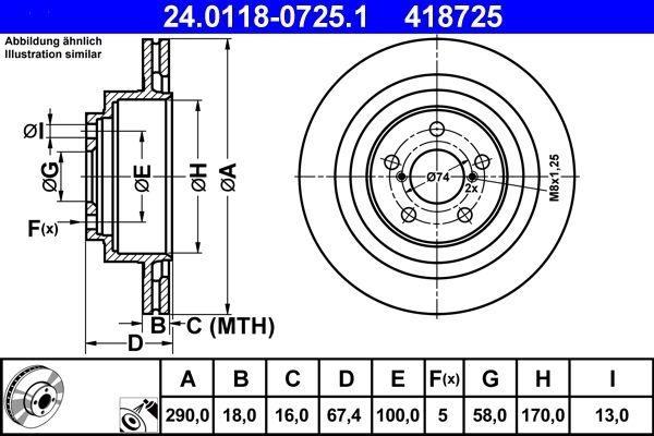 ATE  24.0118-0725.1 Bremsscheibe Bremsscheibendicke: 18,0mm, Lochanzahl: 5, Ø: 290,0mm