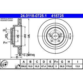 Bremsscheibe Bremsscheibendicke: 18,0mm, Lochanzahl: 5, Ø: 290,0mm mit OEM-Nummer 26700AE070
