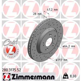 Brake Disc Brake Disc Thickness: 28mm, Rim: 5-Hole, Ø: 293mm with OEM Number 45251 SWWG01
