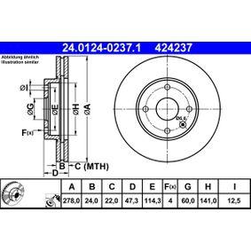 Bremsscheibe Bremsscheibendicke: 24,0mm, Lochanzahl: 4, Ø: 278,0mm mit OEM-Nummer 96329364