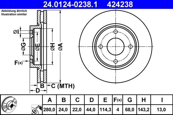 Bremsscheibe Vorderachse, Ø: 280,0mm, belüftet, beschichtet preiswert 24.0124-0238.1