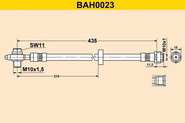 Barum  BAH0023 Bremsschlauch Länge: 435mm, Innengewinde: M10x1mm