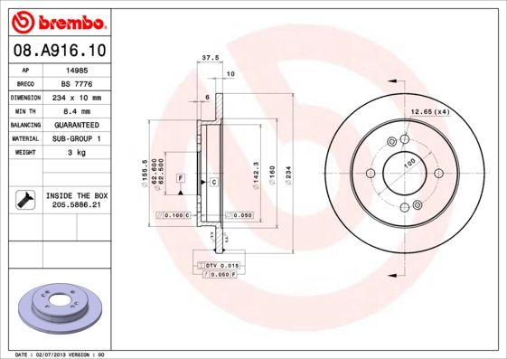 08.A916.10 BREMBO from manufacturer up to - 20% off!