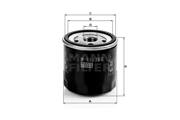 MANN-FILTER  W 712/92 Ölfilter Ø: 76mm, Außendurchmesser 2: 72mm, Innendurchmesser 2: 63mm, Innendurchmesser 2: 63mm, Höhe: 79mm