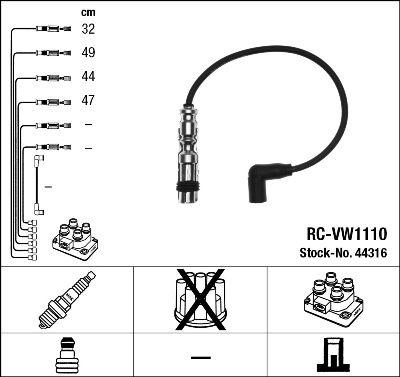Juego de cables de encendido NGK RCVW1110 0087295443163
