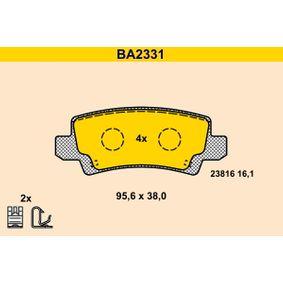 Bremsbelagsatz, Scheibenbremse Breite: 95,6mm, Höhe: 38,0mm, Dicke/Stärke: 16,1mm mit OEM-Nummer 04466 02020
