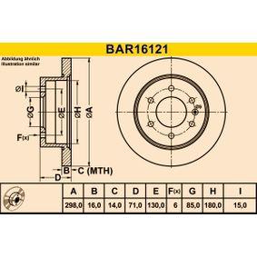Bremsscheibe Bremsscheibendicke: 16,0mm, Lochanzahl: 6, Ø: 298,0mm mit OEM-Nummer A 906 423 0012