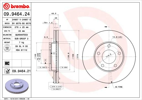 09.9464.21 BREMBO from manufacturer up to - 26% off!