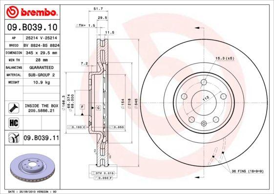 Brake Discs 09.B039.11 BREMBO 09.B039.11 original quality