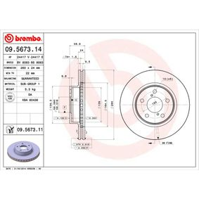 Bremsscheibe Bremsscheibendicke: 24mm, Lochanzahl: 5, Ø: 260mm mit OEM-Nummer 26310-AA021