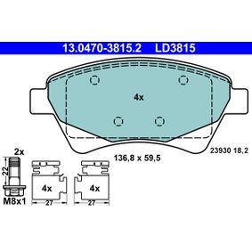 Relais RENAULT KANGOO (KC0/1_) 1.9 dCi 4x4 (KC0V) de Année 10.2001 80 CH: Jeu de plaquettes de frein, frein à disque (13.0470-3815.2) pour des ATE