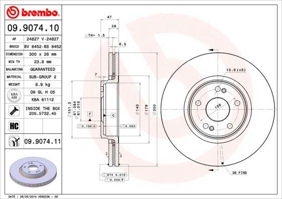 Bremsscheiben 09.9074.11 BREMBO 09.9074.11 in Original Qualität