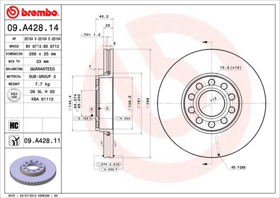 Article № 09.A428.11 BREMBO prices