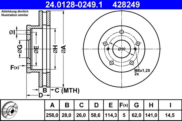 ATE  24.0128-0249.1 Brake Disc Brake Disc Thickness: 28,0mm, Num. of holes: 5, Ø: 258,0mm