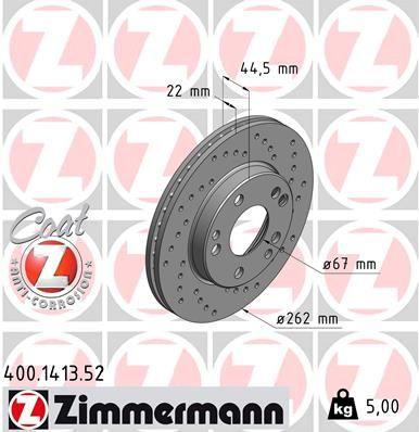 ZIMMERMANN SPORT COAT Z 400.1413.52 Bremsscheibe Bremsscheibendicke: 22mm, Lochanzahl: 5, Ø: 262mm