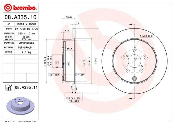 Bremsscheiben 08.A335.10 BREMBO 08.A335.10 in Original Qualität
