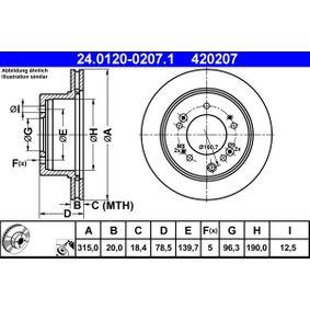 Brake Disc 24.0120-0207.1 SORENTO 1 (JC) 3.8 4WD MY 2013