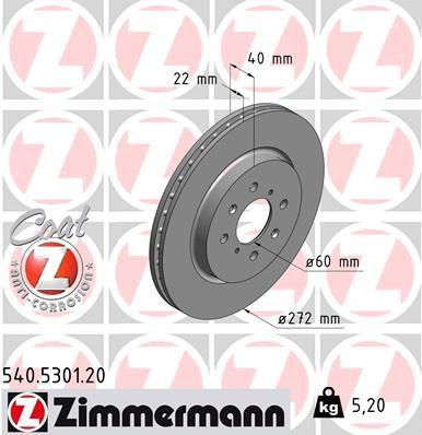 ZIMMERMANN COAT Z 540.5301.20 Bremsscheibe Bremsscheibendicke: 22mm, Lochanzahl: 4, Ø: 272mm
