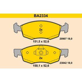 Bremsbelagsatz, Scheibenbremse Höhe 1: 151,5mm, Höhe 2: 150,2mm, Höhe: 52,6mm, Dicke/Stärke: 18,0mm mit OEM-Nummer 9 948 870