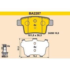 Bremsbelagsatz, Scheibenbremse BA2287 MONDEO 3 Kombi (BWY) 2.0 TDCi Bj 2007