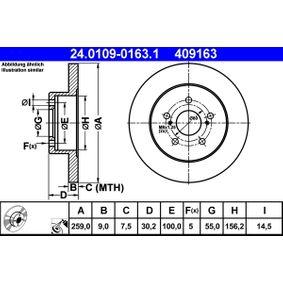 Bremsscheibe Bremsscheibendicke: 9,0mm, Lochanzahl: 5, Ø: 259,0mm mit OEM-Nummer 42431 12310