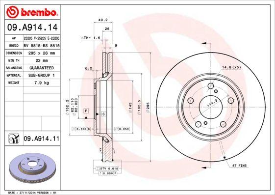 Bremsscheiben 09.A914.14 BREMBO 09.A914.14 in Original Qualität