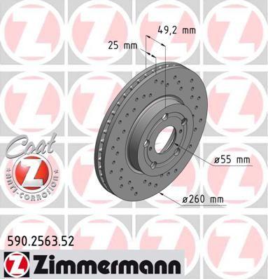 ZIMMERMANN SPORT COAT Z 590.2563.52 Bremsscheibe Ø: 260mm