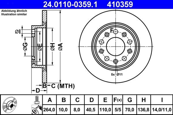 ATE  24.0110-0359.1 Bremsscheibe Bremsscheibendicke: 10,0mm, Lochanzahl: 5, Ø: 264,0mm