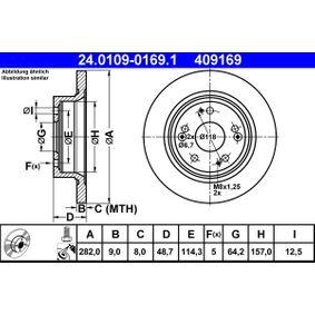 ATE  24.0109-0169.1 Bremsscheibe Bremsscheibendicke: 9,0mm, Lochanzahl: 5, Ø: 282,0mm