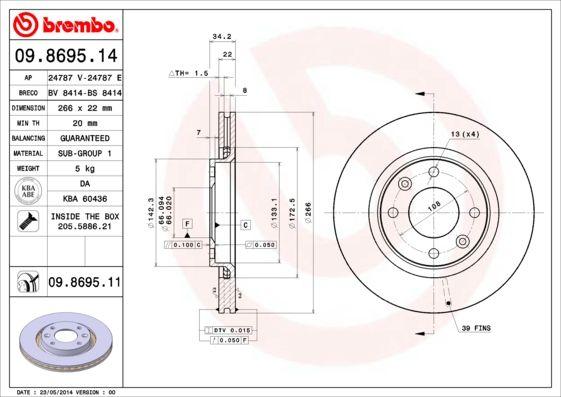 BREMBO Δισκόπλακα μπροστινός άξονας, Ø: 266mm, εσωτερικά αεριζόμενο, με επίστρωση 09.8695.11