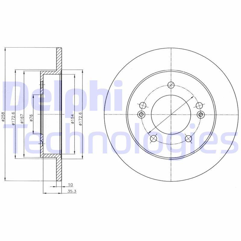 DELPHI  BG4310 Bremsscheibe Bremsscheibendicke: 10mm, Lochanzahl: 5, Ø: 258mm