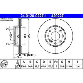 ATE  24.0120-0227.1 Bremsscheibe Bremsscheibendicke: 20,0mm, Lochanzahl: 6, Ø: 236,0mm