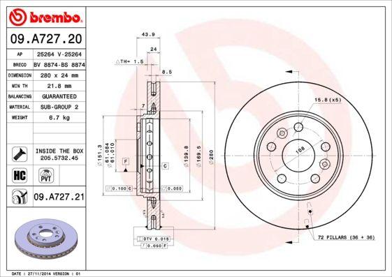 Brake Discs 09.A727.20 BREMBO 09.A727.20 original quality