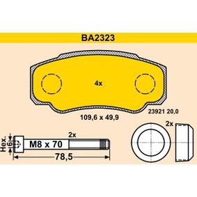 Bremsbelagsatz, Scheibenbremse Art. Nr. BA2323 120,00€